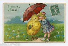 JOYEUSES PAQUES . Enfant . Poussin humanisé avec parapluie . Chick . umbrella