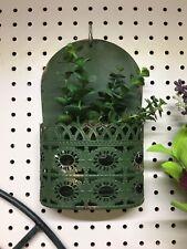 "Green Metal Hanging Wall Pocket Ornate 10""x 7"" Planter"