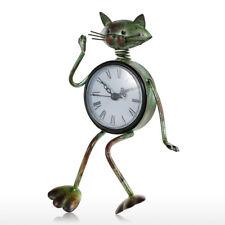 Metal Desk Clock Stands Iron Cat Vintage Handicrafts Household Shelf Clocks Kit