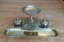 Soporte de latón de doble Tintero Art Deco Con Soporte de pluma y nuevo en caja