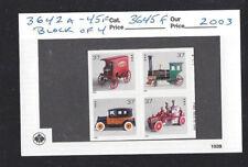 US Scott # 3642a - 45f / 3645f .37 Antique Toys 2003, SA Block of 4
