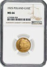 1925 G10Z 10 Zlotych Gold Poland NGC MS66