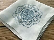 Vintage Madeira Style Embroidered Blue Hankie Monogram Initial H Wedding Bride