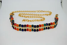 Vintage Women's Colorful Bead and Gold Tone Chain Link Belt - Boho Belt