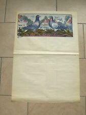 Ancienne affiche - COLOMBOPHILIE oiseaux pigeons (E.H. & Co DEPOSE N° 3327) 50s
