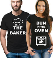 c5bd2fea65d11 Pregnancy reveal couple t-shirts The baker and bun in the oven. Black set