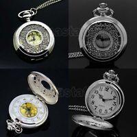 Fashion Silver Hollow Quartz Pocket Watch Necklace Pendant Chain Women Mens Gift