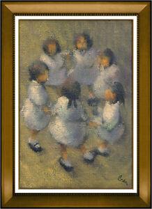 Leonard Creo Original Oil Painting on Canvas Signed Artwork Children Portrait