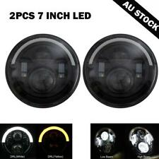 """Pair 7""""inch Round LED Headlight 60W Clear Sealed for Land Rover Defender 90 110"""