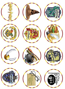 """15 x 2"""" Pre-cut icing Harry Potter cupcake toppers, peel & easy to use"""