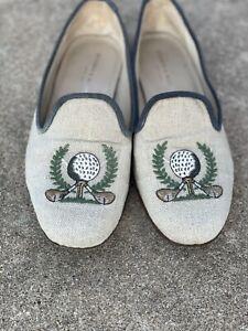 """Stubbs Wootton Men's Natural Linen Slippers US 10 """"Golf Ball"""""""