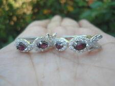 NATURAL RED GARNET & White CZ Stones STERLING 925 SILVER EARRINGS