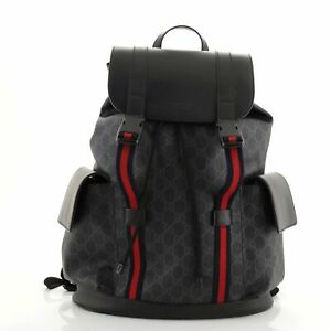 Gucci Double Pocket Buckle Backpack GG Coated Canvas Large
