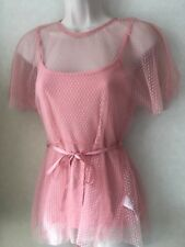 Ladies Summer Ex Top Shop Light Pink Round Neck Mesh Size 6-8