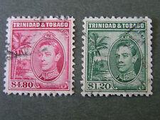 *TRINIDAD & TOBAGO, SCOTT # 60/61(2), $1.20+$4.50 VALUES 1940 KGV1 ISSUE USED