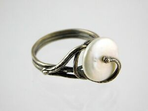 PZ Israel Coin Button Pearl Ring Sterling Silver Vine Paz Creations 925 Size 8