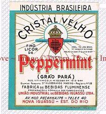 1940s BRASIL Nova Iguassu Fluminese CRISTAL VELHO PEPPERMINT Grao Para Label