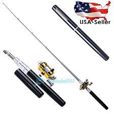 Mini Portable Pocket Fish Pen Aluminum Alloy Fishing Rod Pole Reel Combos USA