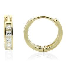 14k Yellow Gold Princess Cut Cubic Zirconia Channel Set Huggie Hoop Earrings