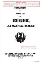 RUGER 44 MAGNUM CARBINE INSTRUCTIONS PARTS OWNERS GUN MANUAL FOURTY FOUR MAG .44