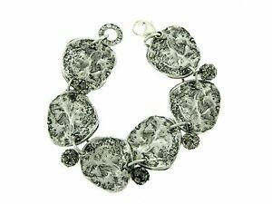 Sterling Silver Hammered Freeform Links with Rhinestone Beads Bracelet