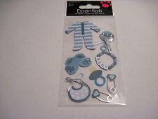 Scrapbooking Stickers Sandylion Dimensional Baby Boy Bib Rattle Pins PJs Booties