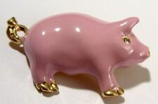 broche bijou rétro collection qualité couleur or cochon rose émail brillant 252