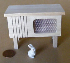 1:12 Scale Natural Finish Wooden Hutch With A Ceramic Rabbit Dolls House Pets