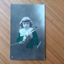 Vintage* Young boy Henri Manny with Violin and Bow 14th March 1917 Real photo. .