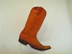Orange Leather Ostrich Cowboy Western Boots Mens Size 7 D