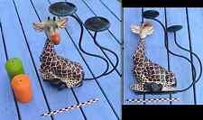 Bougeoir chandelier girafe en bois peint et métal, objet original et rarissime,