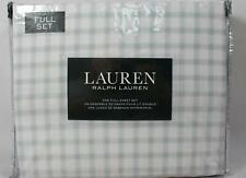 Ralph Lauren Four Piece Full Size Sheet Set White Blue Tan Plaid 100% Cotton New