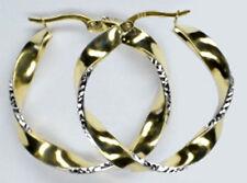 ECHT GOLD *** Creolen Ohrringe bicolor gedreht 30 mm