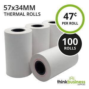 100 x Premium 57x34mm Thermal Paper EFTPOS Rolls for ANZ CBA Albert NAB Westpac