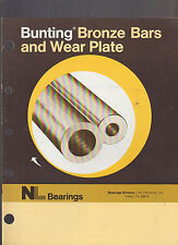 Bunting Bronze Bars & Wear Plate NL Bearings Toledo Ohio 1975 Brochure