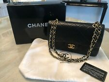 Authentic CHANEL Black Classic Double Flap Lambskin Shoulder Bag Small