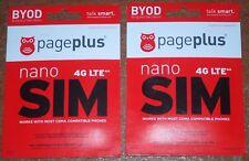 Lot of 2  Page Plus 4G LTE Nano SIM Cards unused