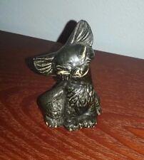 Vintage Ceramic Black & Gold Tone CAT w/ Siamese Eyes Figurine