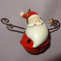 "Santa Claus Bell Ornament Head Metal Resin 2"" Christmas"