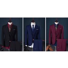 3 Pieces Men One Button Slim Fit Wedding Party Suits Business Jacket Pants Vest