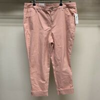 Style & Co Womens Plus Size 14W Stretch Peach Mid Rise Capri Cropped Cuffed NWT
