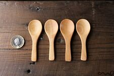 Set 4 Tiny Round Short Handle Cute Dessert Wooden Spoons Handmade Brown Icecream