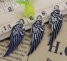 Wings Alloy Charm Pendant 31x11mm Free Shipping 15pcs Jewelry Making Diyflower