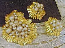 Vintage DeMario NY SIGNED Faux Baroque Pearl Rhinestone Brooch Pin & Earrings