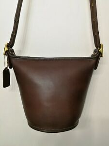 EUC Coach Vtg Maggie Duffle Sac Bucket 9019 Vintage Crossbody Bag Leather Brown