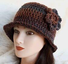 LADIES WINTER CHUNKY CLOCHE HAT brown floral warm bucket Gatsby woman beanie 59