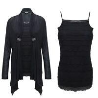 New Ladies Women Diamante Top Twin Set Open Cardigan Chiffon Dress Size 10 12 14