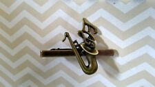 T000 Vintage Style Saxophone Music Note Tie Clip Bar Pin Halloween Costume Gift