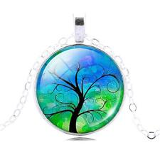 Silver Tree of Life Glass Cabochon Pendant Necklace, Sacred Tree, TL38