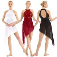 Women Adult Halter Sequins Lyrical Ballet Dance Dress Asymmetric Skirt Dancewear